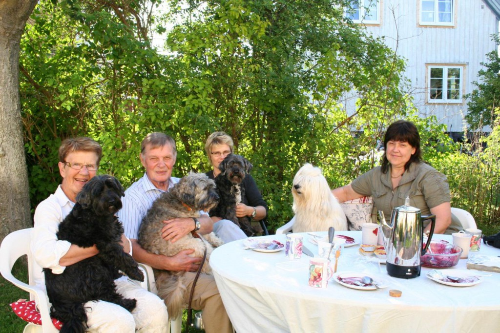 """From left: Måddan and Tea, Gösta and Ludwig, my friend Sofia with """"Cola"""" 14 years old, and Gun-Brith with Svante."""